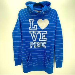 PINK by VS- Blue/Silver Logo Hoodie Sweatshirt